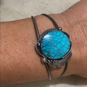 Sterling turquoise stone vintage Navajo bracelet